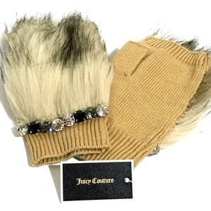Brand New Juicy Couture Faux Fur Half Gloves